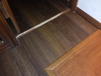 Old floor trims removed